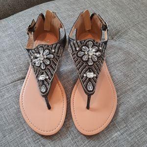 XOXO Roche beaded jeweled thong sandal (Size 7.5)